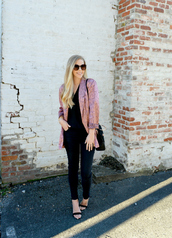 fash boulevard,blogger,jacket,shoes,top,jewels,sunglasses,bag,sweater,spring outfits,blazer,silk blazer,sandals
