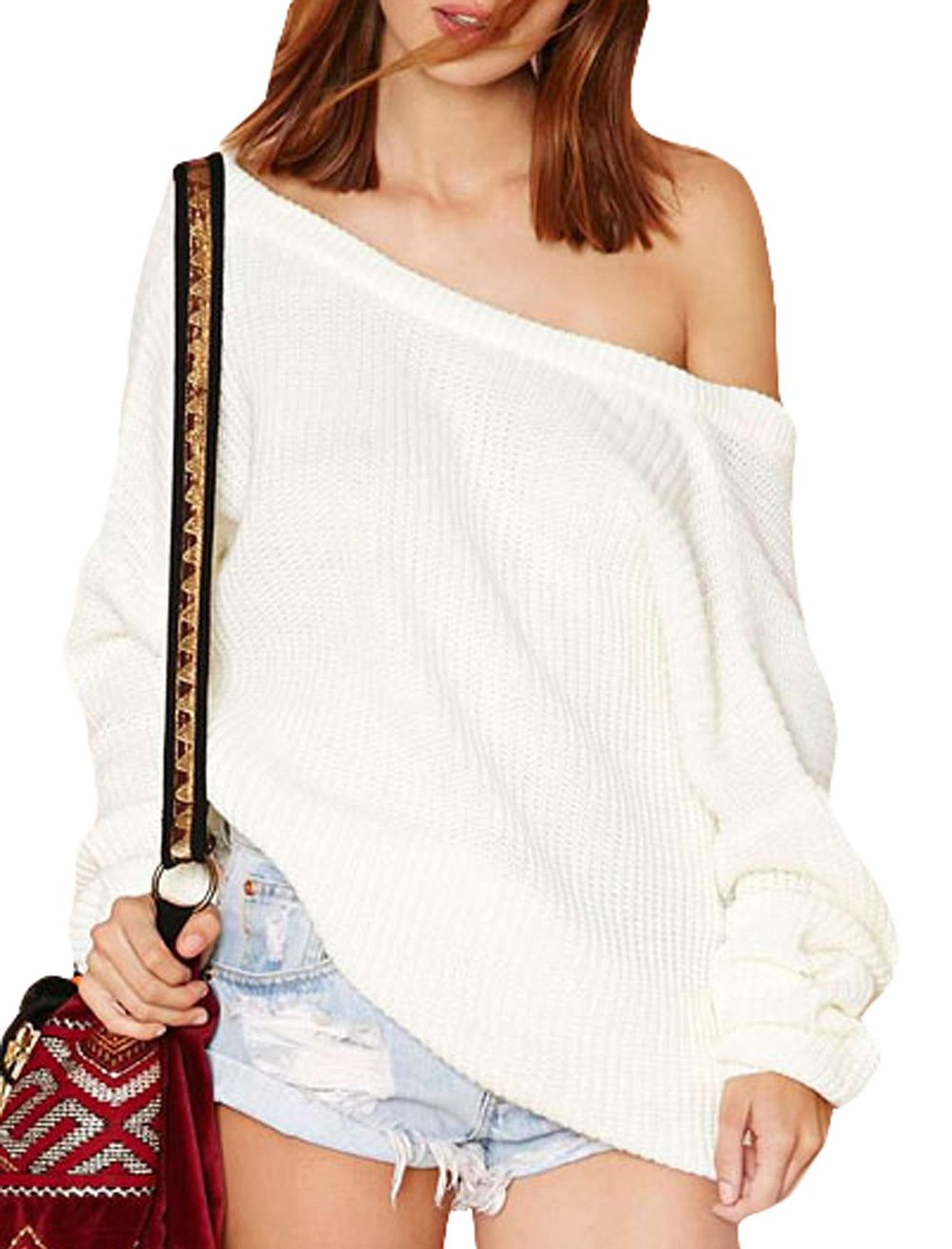 Shoulder openback long sleeve pullover sweater at amazon women's clothing store: