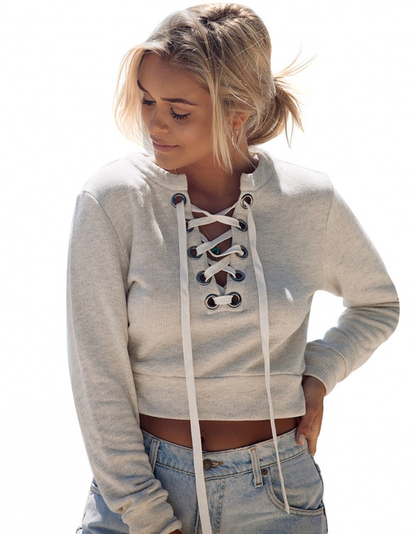 de68b5f0aa Crop Lace Up Hoodie Sweater – Outfit Made