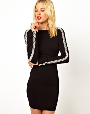 ASOS | ASOS Embellished Arm Bodycon Dress at ASOS