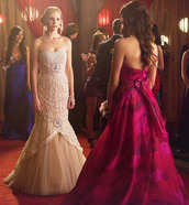 dress,caroline forbes,the vampire diaries,prom dress