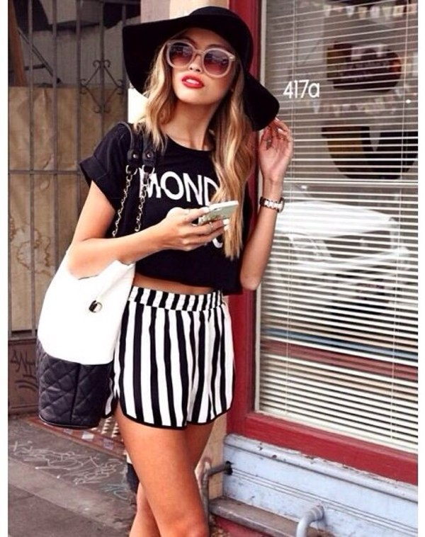 shorts stripes black and white High waisted shorts hat shirt