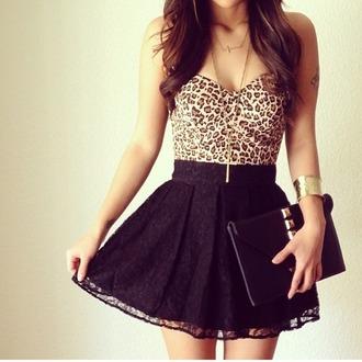 top bustier adorable leopard print skirt