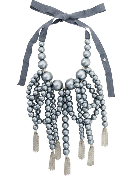 Moy Paris oversized women plastic beaded necklace cotton grey jewels