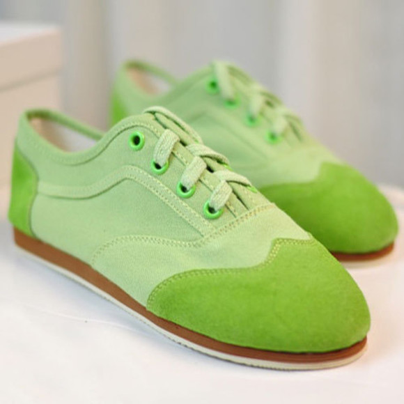 shoes flat lace up green trainers
