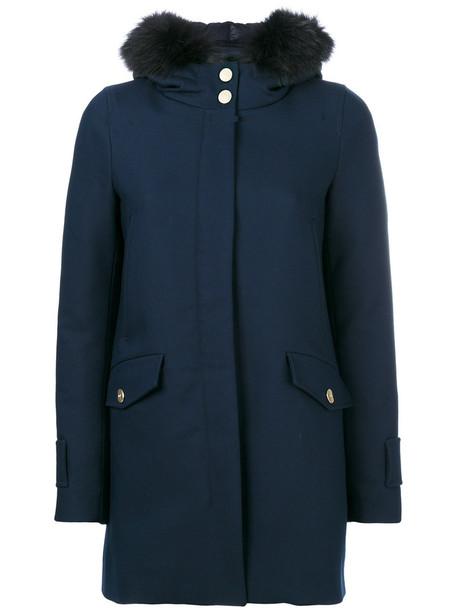 Herno coat fur fox women cotton blue