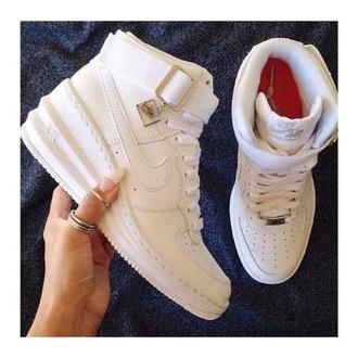 shoes white nike lunar skiing hi wedge sneakers womens all white