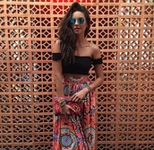top,white,sleeveless,shay mitchell,skirt,shoulderless