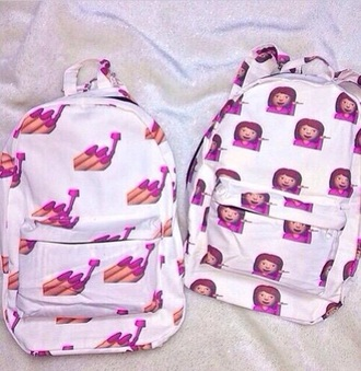 bag pink emoji print emoticons iphone emoji school bag girl girly girly bag white pink and white white and pink printed backpack