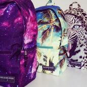 bag,backpack,galaxy print,summer,leopard print,animal face print,breaking rocks,palm tree print,cool,printed backpack