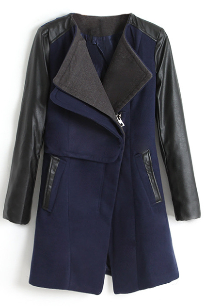 ROMWE | Montage PU Sleeves Dark Blue Coat, The Latest Street Fashion