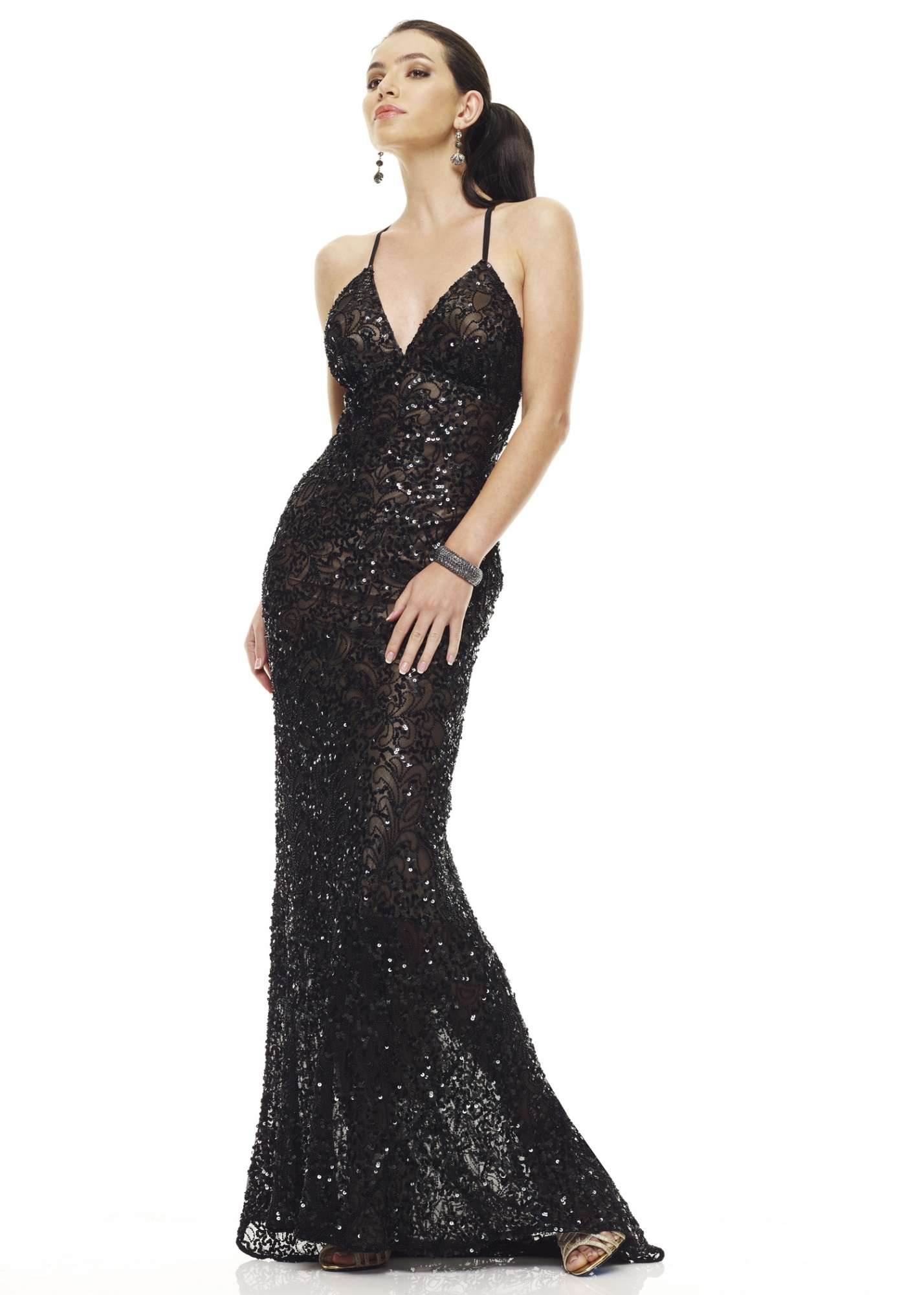 Scala 47542 V-Neck Sequin Gown