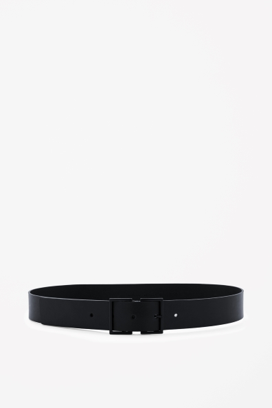 Matte buckle leather belt