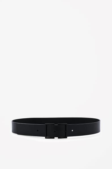 Matte buckle leather belt