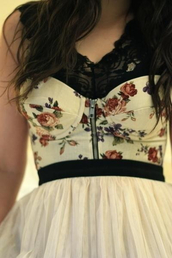 dress,girl,skirt,white dress,floral,clothes,corset top,zip,shirt,bra,corsage,top,corsette,flowers,hipster,grunge,creme,black,tank top,bra t-shirt,blooms,bustier,bustier dress,floral dress,romantic,girly