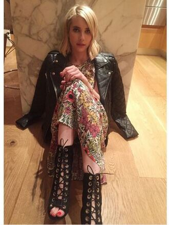 dress emma roberts booties lace up midi dress floral dress floral jacket biker jacket fall outfits shoes