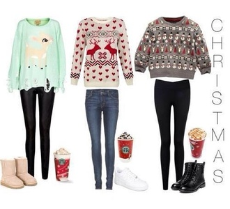 t-shirt christmas christmas sweater leggings black leggings cute cute sweaters shoes accesoires winter sweater winter outfits shoes winter sweater