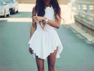 dress white short dress beautiful cute summer short girly