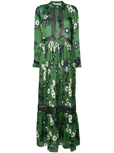 self-portrait dress shirt dress long women floral green