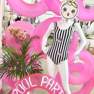 swimwear yeah bunny black cute sweet dog frenchie stripes one piece swimsuit