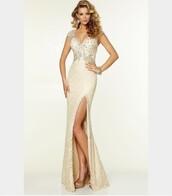 dress,slit in leg,prom,backless dress,bodycon,long dress,long,champagne dress,gold dress,prom dress
