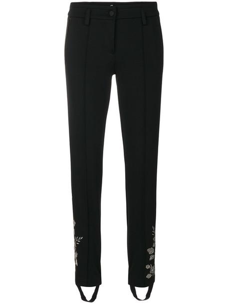Cambio - embroidered stirrup track pants - women - Viscose/Polyamide/Spandex/Elastane - 34, Black, Viscose/Polyamide/Spandex/Elastane