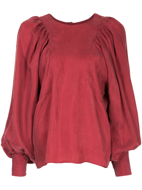 blouse women red top