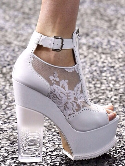 shoes oxfords white platform shoes lace heel glass heel leather