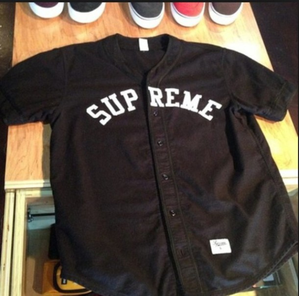 shirt supreme baseball jersey white