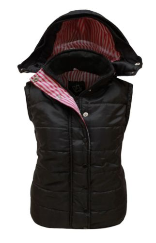 NEW LADIES SLEEVELESS HOODED QUILTED GILET VEST BODYWARMER WOMENS JACKET 8-14 | eBay
