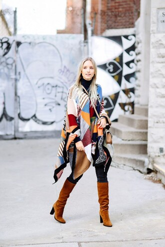 the fashion guitar blogger patchwork 70s style suede boots poncho