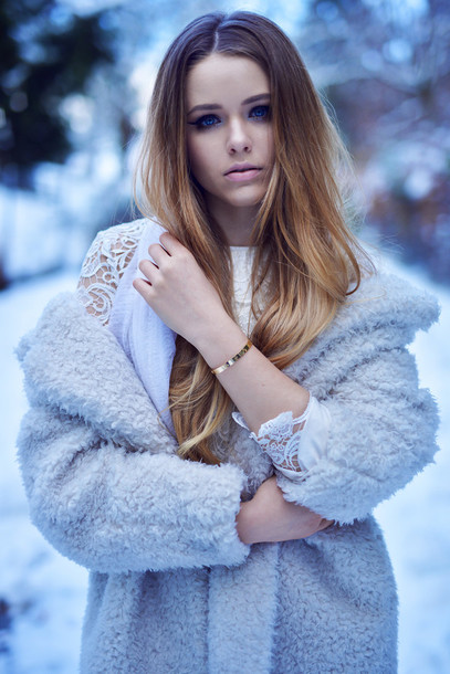 kayture blogger coat fuzzy coat winter coat straight hair lace top texture hair/makeup inspo shoes top skirt jewels best accessories by kayture white fluffy coat ombre hair white winter outfit