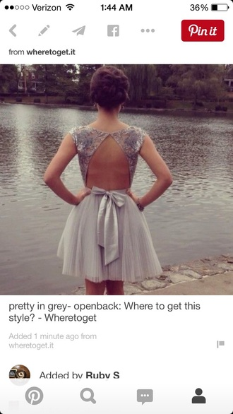 dress gray open back bow