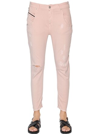 jeans denim cotton pink