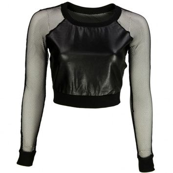 VIPARO | Black Mesh Leather Crop Top - Ellie on Wanelo