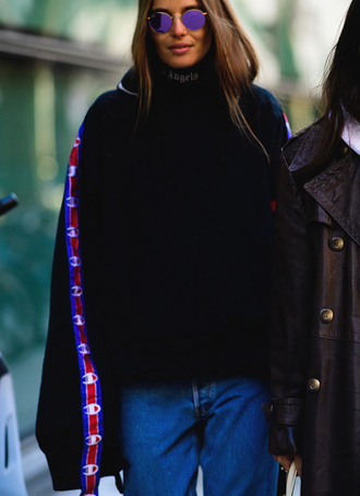 top tumblr champion sweatshirt black sweatshirt black sweater oversized sweater oversized denim jeans blue jeans sunglasses round sunglasses fashion week 2017 streetstyle
