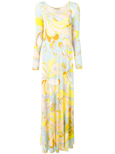 Emilio Pucci dress maxi dress maxi women silk yellow orange