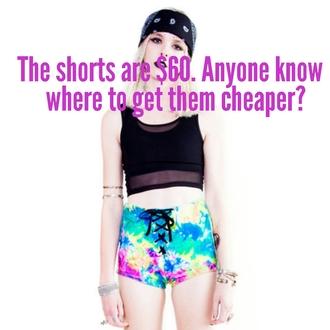 shorts tye die tie dye tye dye shorts tie dye shorts lace up hot pants hippy grunge alternative fashion alternative fashion