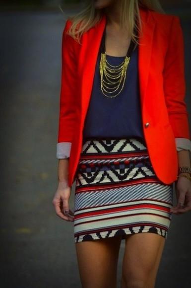 jacket skirt blouse red jacket