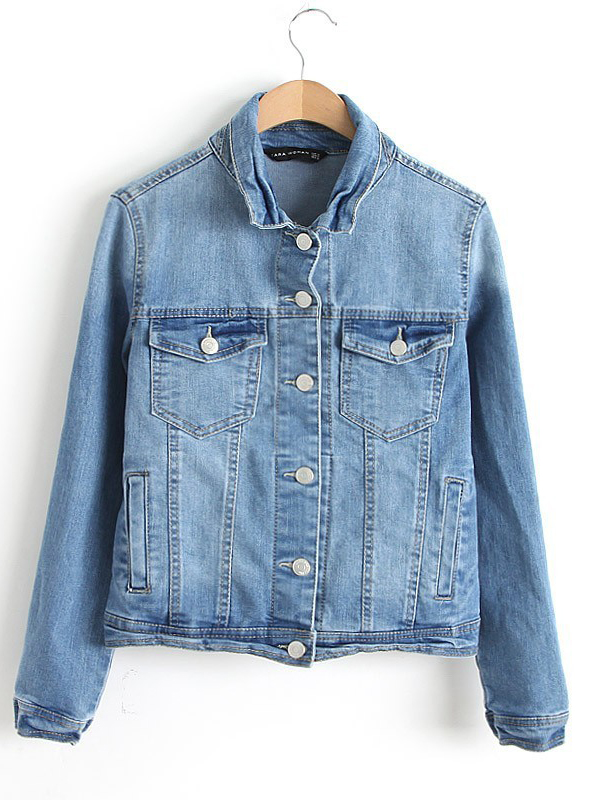 Round neck long sleeve sheath denim jacket with pockets : kisschic.com