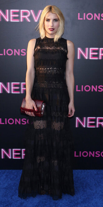 dress gown black dress maxi dress see through dress emma roberts prom dress clutch