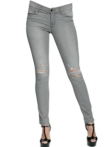 Mid rise skinny stretch denim jeans