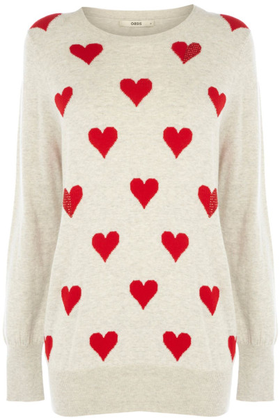 Oasis Heart Intarsia Jumper in Red (Neutral) | Lyst
