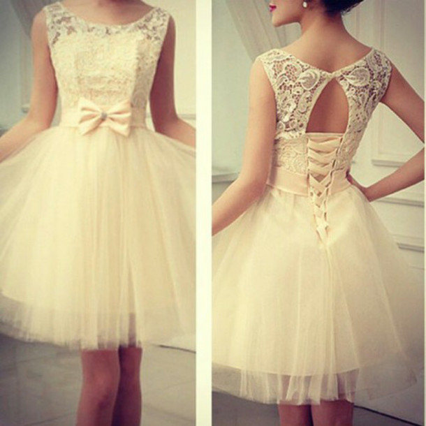 white dress dress pretty cute white bow dress clothes bow lace nude dress rose dress lace dress nice pretty dress!