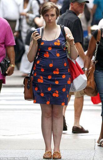 dress lena dunham celebrity style celebrity summer dress summer outfits blue dress cherry flats leather flats bag brown leather bag leather bag shoulder bag