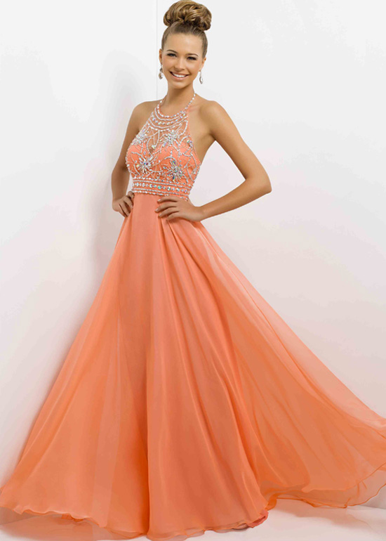 Coral Halter Straps Beaded Low Cut Back Bridesmaid Dress [Blush 9723 ...