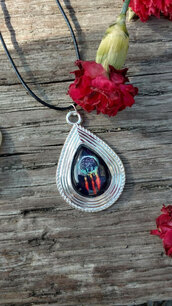 jewels,the glitzy hen,silver,silver necklace,dreamcatcher necklace,dreamcatcher,tribal pattern,tribal necklace,teardrop necklace,bohemian necklace,fashion jewelry