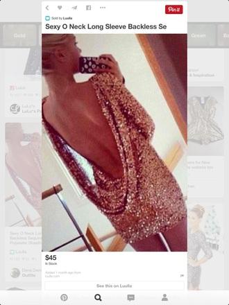 dress low back long sleeves short gold sequins sequin dress