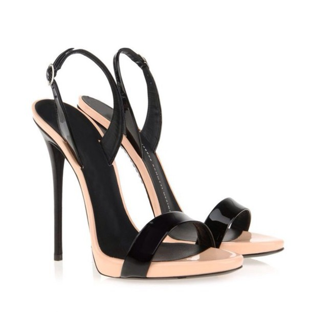 shoes sandals heels elegant luxury glamour black peep toe leather sandals