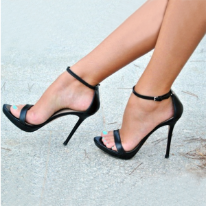 Black Ankle Strap Sandals Sexy Stiletto Heels